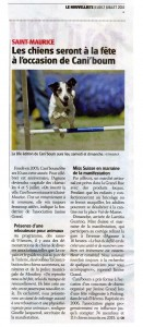 Article du journal Le Nouvelliste - Caniboum de St-Maurice