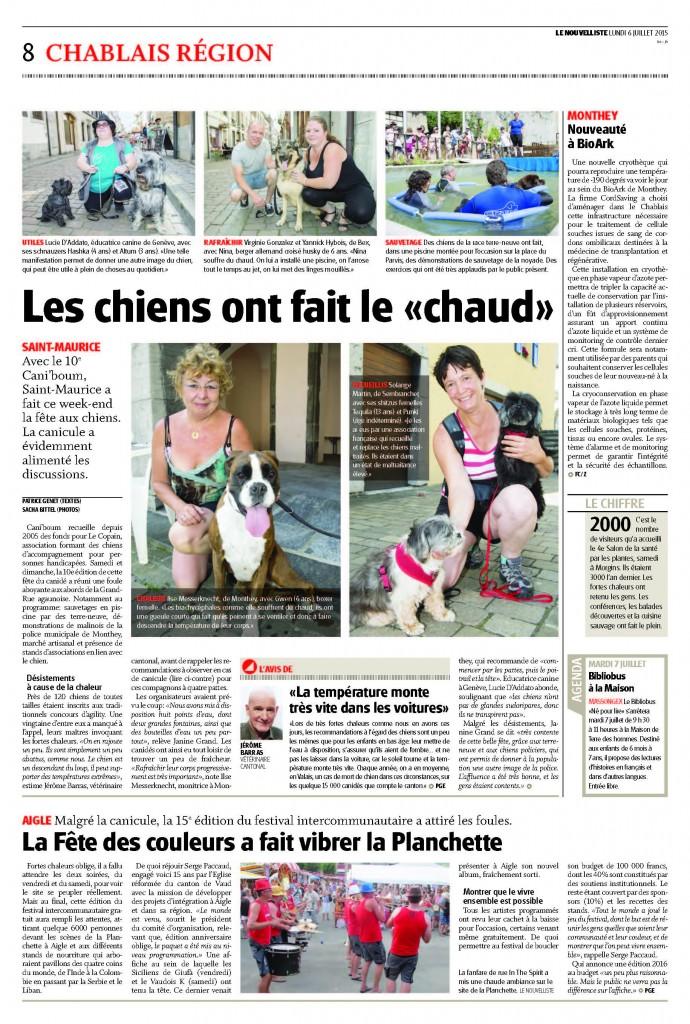Article du journal Le Nouvelliste - Caniboum - Les chiens ont fait le show