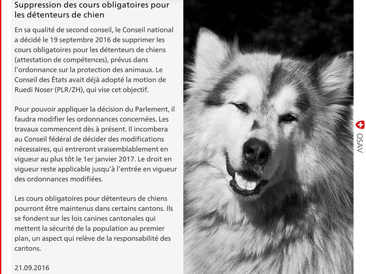 Nouvelle loi - éducation canine